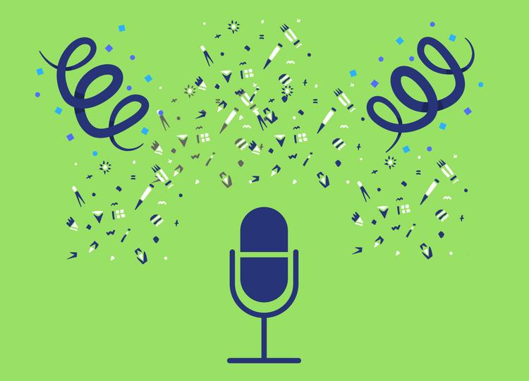 Ilustração de um microfone de narração com confetes em volta.