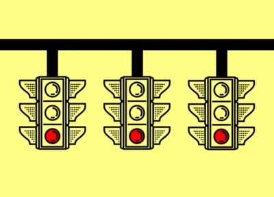 Ilustração de 3 semáforos lado a lado, todos com a luz vermelha acesa