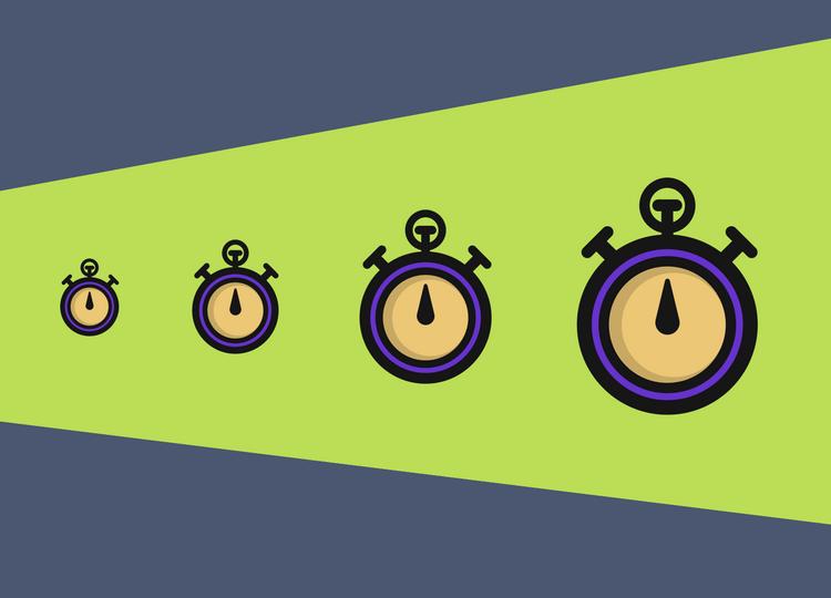 Caso de sucesso Vooozer e Rock Content, ilustração de 4 cronômetros lado a lado, um maior que o outro da esquerda pra direita.