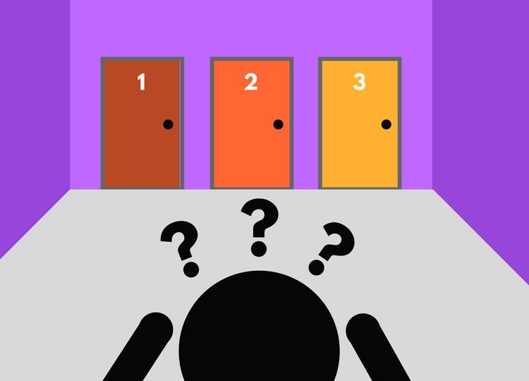 Ilustração de uma sala com 3 portas, numeradas em 1, 2 e 3 e uma pessoa com as mãos na cabeça na dúvida de qual escolher e interrogações pairando sobre sua cabeça